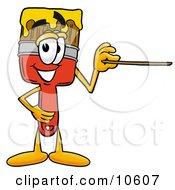 Paint Brush Mascot Cartoon Character Holding A Pointer Stick