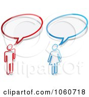 Royalty Free Vector Clip Art Illustration Of A Digital Collage Of Chat Balloons And A Man And Woman