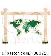 Royalty Free Vector Clip Art Illustration Of A World Atlas Chalkboard Sign Suspended From Posts by Andrei Marincas