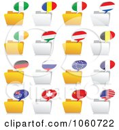Royalty Free Vector Clip Art Illustration Of A Digital Collage Of Folders And National Flag Chat Icons by Andrei Marincas