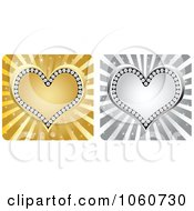 Royalty Free Vector Clip Art Illustration Of A Digital Collage Of Silver And Golden Diamond Hearts Over Rays