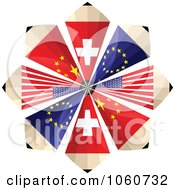 Royalty Free Vector Clip Art Illustration Of A Burst Of Swiss European American And Chinese Flag Pencils