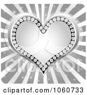 Royalty Free Vector Clip Art Illustration Of A Silver Diamond Heart Over Rays