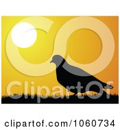 Royalty Free Vector Clip Art Illustration Of A Silhouetted Dove And Grass Against An Orange Sunset