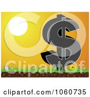 Royalty Free Vector Clip Art Illustration Of A Dollar Symbol On Grass Against An Orange Sunset by Andrei Marincas