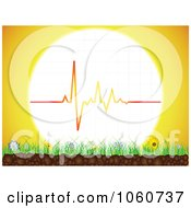 Royalty Free Vector Clip Art Illustration Of A Heart Beat Sun Over Grass Flowers And Soil
