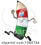 Royalty Free Vector Clip Art Illustration Of A Running Italian Flag Pencil Character by Andrei Marincas