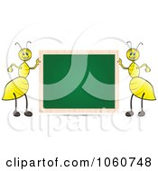 Royalty Free Vector Clip Art Illustration Of A Chalk Board And Two Ants by Andrei Marincas