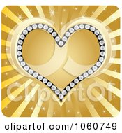 Royalty Free Vector Clip Art Illustration Of A Golden Diamond Heart Over Rays