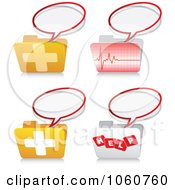 Royalty Free Vector Clip Art Illustration Of A Digital Collage Of Medical Folders And Chat Icons