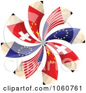 Royalty Free Vector Clip Art Illustration Of A Spiral Of Swiss European American And Chinese Flag Pencils by Andrei Marincas
