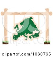 Royalty Free Vector Clip Art Illustration Of A European Chalkboard Sign Suspended From Posts by Andrei Marincas