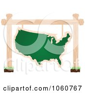 Royalty Free Vector Clip Art Illustration Of A USA Chalkboard Sign Suspended From Posts by Andrei Marincas