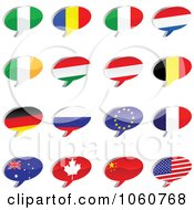 Royalty Free Vector Clip Art Illustration Of A Digital Collage Of Shiny Chat Flag Icons by Andrei Marincas