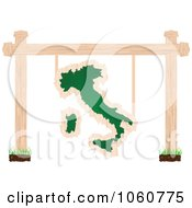 Royalty Free Vector Clip Art Illustration Of An Italian Chalkboard Sign Suspended From Posts by Andrei Marincas