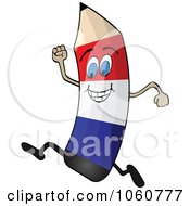Royalty Free Vector Clip Art Illustration Of A Running French Flag Pencil Character by Andrei Marincas #COLLC1060777-0167