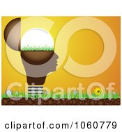 Royalty Free Vector Clip Art Illustration Of A Light Bulb Head On Grass Against An Orange Sunset by Andrei Marincas