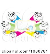 Royalty Free Vector Clip Art Illustration Of A Discount Banner With Happy Faces by Andrei Marincas