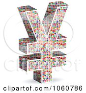 Royalty Free Vector Clip Art Illustration Of A 3d Yen Symbol Made Of World Flags