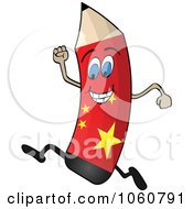 Royalty Free Vector Clip Art Illustration Of A Running Chinese Flag Pencil Character