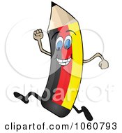 Royalty Free Vector Clip Art Illustration Of A Running German Flag Pencil Character