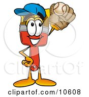 Clipart Picture Of A Paint Brush Mascot Cartoon Character Catching A Baseball With A Glove by Toons4Biz