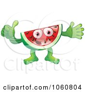 Royalty Free Vector Clip Art Illustration Of A Watermelon Character Giving The Thumbs Up by AtStockIllustration