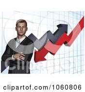 Royalty Free Vector Clip Art Illustration Of A Business Man With Folded Arms Against A Graph