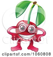 Royalty Free Vector Clip Art Illustration Of A Happy Cherry Character With Hands On Hips by AtStockIllustration