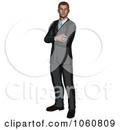 Royalty Free Vector Clip Art Illustration Of A Businessman Standing With Folded Arms