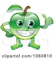 Royalty Free Vector Clip Art Illustration Of A Happy Green Apple Character Holding A Thumb Up by AtStockIllustration