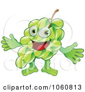 Royalty Free Vector Clip Art Illustration Of A Happy Green Grape Character Presenting by AtStockIllustration