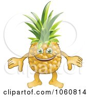 Royalty Free Vector Clip Art Illustration Of A Happy Pineapple Character by AtStockIllustration