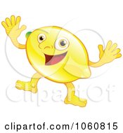 Royalty Free Vector Clip Art Illustration Of A Happy Lemon Character Waving Both Hands by AtStockIllustration