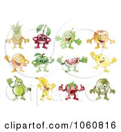 Royalty Free Vector Clip Art Illustration Of A Digital Collage Of Fruit Characters