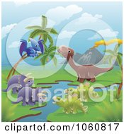 Royalty Free Vector Clip Art Illustration Of Dinosaurs By A Volcano And Stream