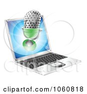 Royalty Free Vector Clip Art Illustration Of A 3d Microphone Over A Laptop Screen