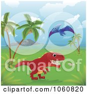 Royalty Free Vector Clip Art Illustration Of Dinosaurs In A Tropical Landscape by AtStockIllustration