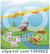 Royalty Free Vector Clip Art Illustration Of Dinosaurs By A Stream