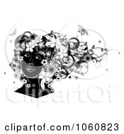 Royalty Free Vector Clip Art Illustration Of A Black And White Womans Face With Flowers And Butterflies by AtStockIllustration