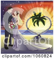 Royalty Free Vector Clip Art Illustration Of Wedding Couple On A Tropical Beach With A Heart Tree