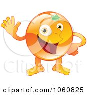 Royalty Free Vector Clip Art Illustration Of A Happy Orange Character Waving by AtStockIllustration