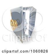 Royalty Free Vector Clip Art Illustration Of A Bright Light Shining From Inside A 3d Safe by AtStockIllustration