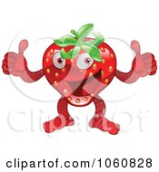 Royalty Free Vector Clip Art Illustration Of A Pleadsed Strawberry Character Holding Two Thumbs Up by AtStockIllustration