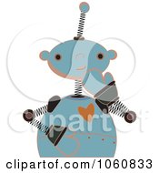 Royalty Free Vector Clip Art Illustration Of A Shy Springy Robot
