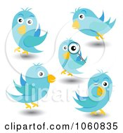 Royalty Free Vector Clip Art Illustration Of A Digital Collage Of Blue Birds Winking Inspecting And Flying