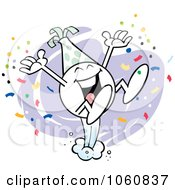 Royalty Free Vector Clip Art Illustration Of An Excited Moodie Character Celebrating