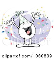 Royalty Free Vector Clip Art Illustration Of A Happy Moodie Character Celebrating