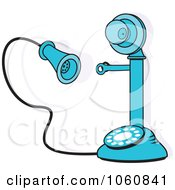 Blue Candlestick Phone With A Shadow