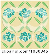 Royalty Free Vector Clip Art Illustration Of A Blue Flower And Leaf Pattern Over Tan